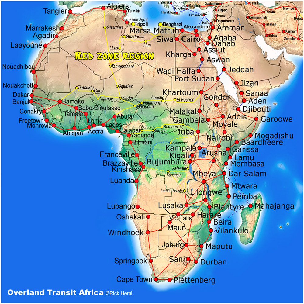 Overland travel and transit routes Africa, Solo overland travel and transit routes Africa, African overland travel routes