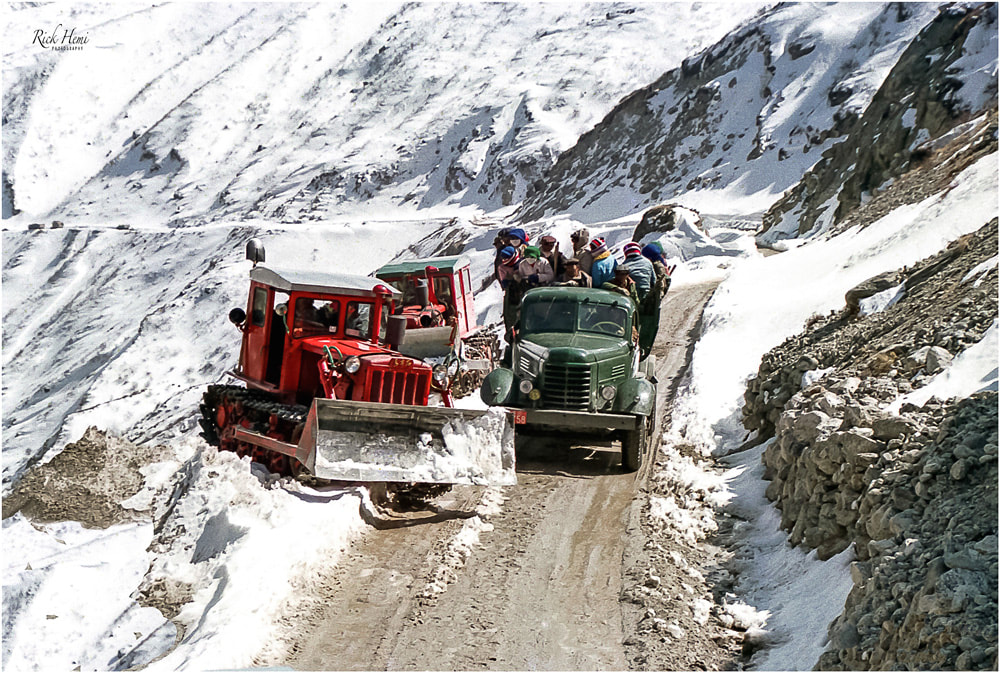 snow track Tibet, Nepal to Tibet, winter highway Tibet