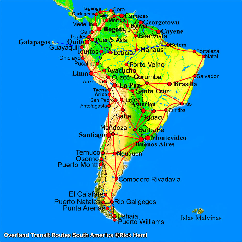 Overland travel and transit routes South America map, Map South America, South America transit map, Overland map South America, Solo overland travel map South America. South America major routes image