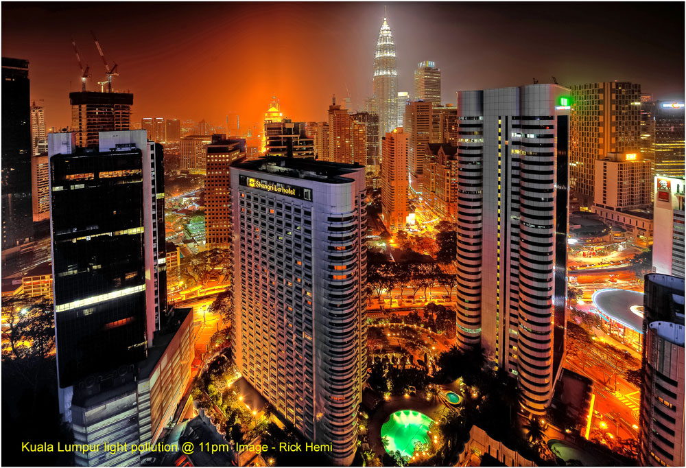 Kuala Lumpur light pollution, Night city photography light pollution, light pollution and night photography, Big city light pollution, light pollution and city skylines