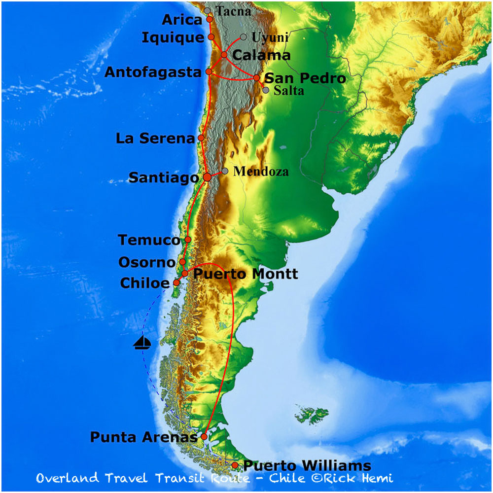 Overland travel and transit routes Chile, Solo overland travel and transit routes Chile,Chilean overland travel routes