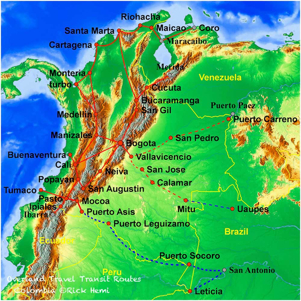 Overland travel and transit routes Colombia, Solo overland travel and transit routes Colombia,Colombian overland travel routes
