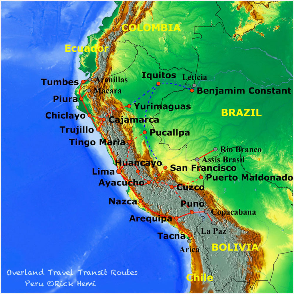 Overland travel and transit routes Peru, Solo overland travel and transit routes Peru,Peruvian overland travel routes