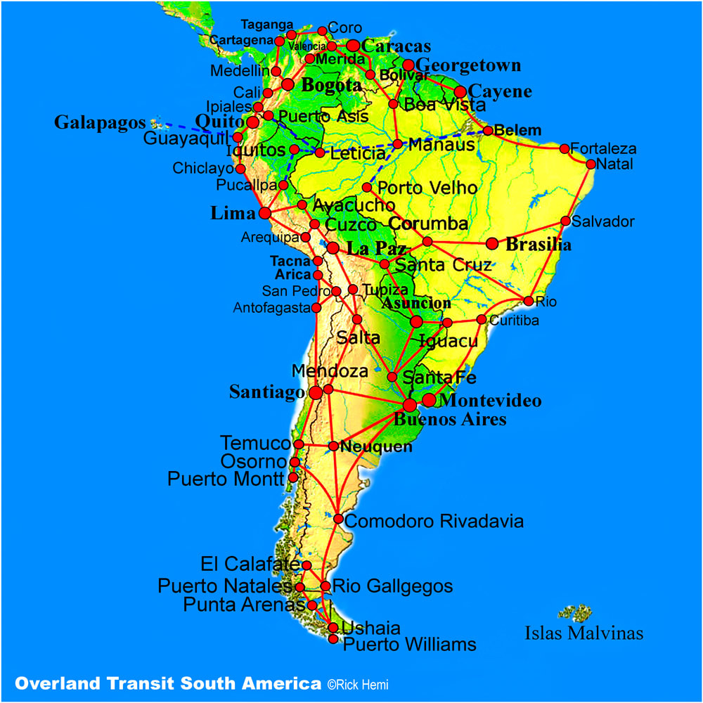 Overland travel and transit routes South America, Solo overland travel and transit routes South America, South America overland travel routes