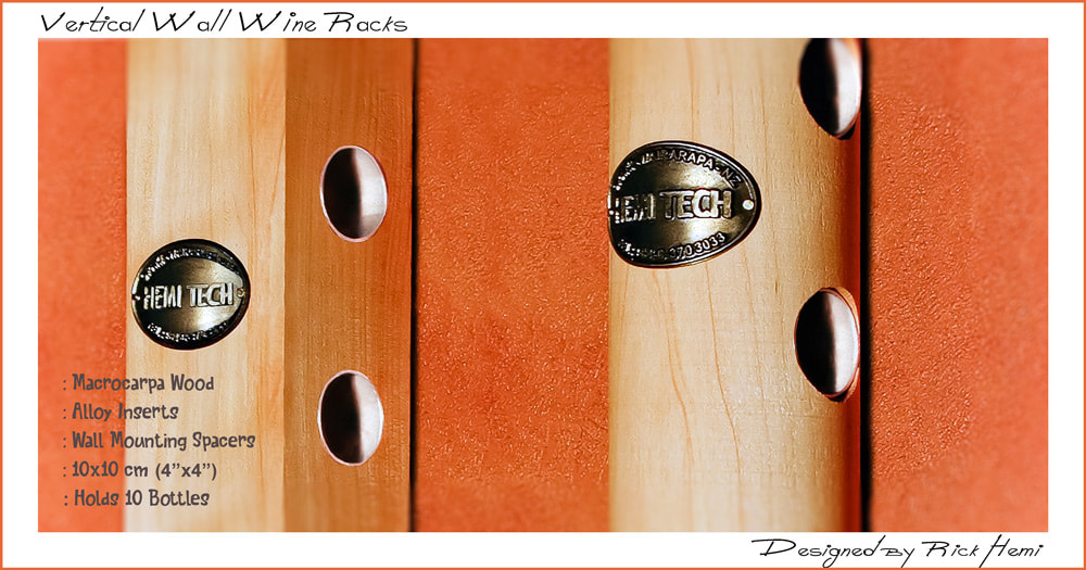 Vertical wine wall racks made from solid macrocarpa wood holding 10 bottles