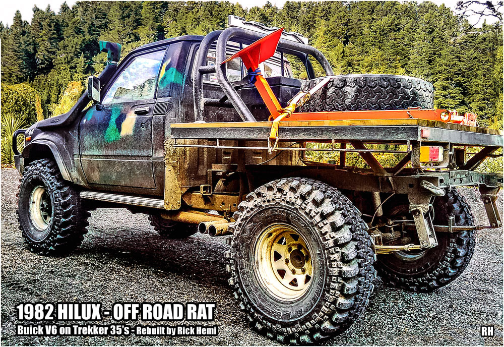 Who's Rick Hemi - Toyota 1982 HiLux Buick V6, 35 inch Mud Trekker tyres, road legal 1982 modified Toyota Hilux off-road rat