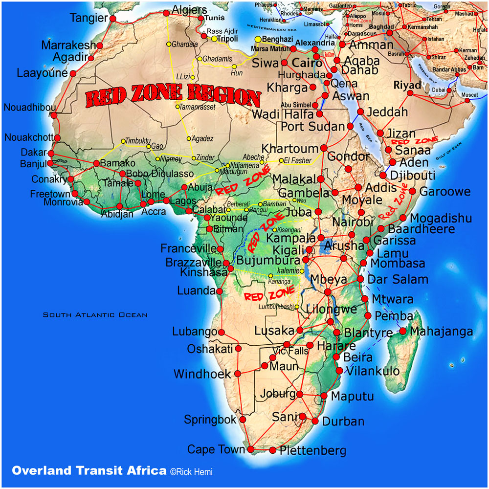 solo travel overland transit route map - Africa