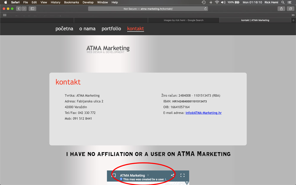 atma-markerting Varaždin Croatia, theft of website image without permission or prior consent by original owner, Croatia