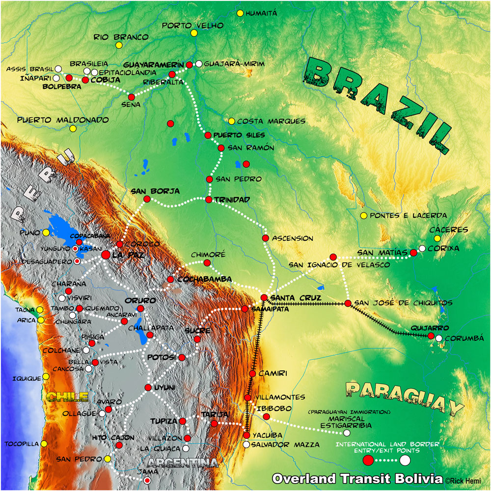 overland road map Bolivia
