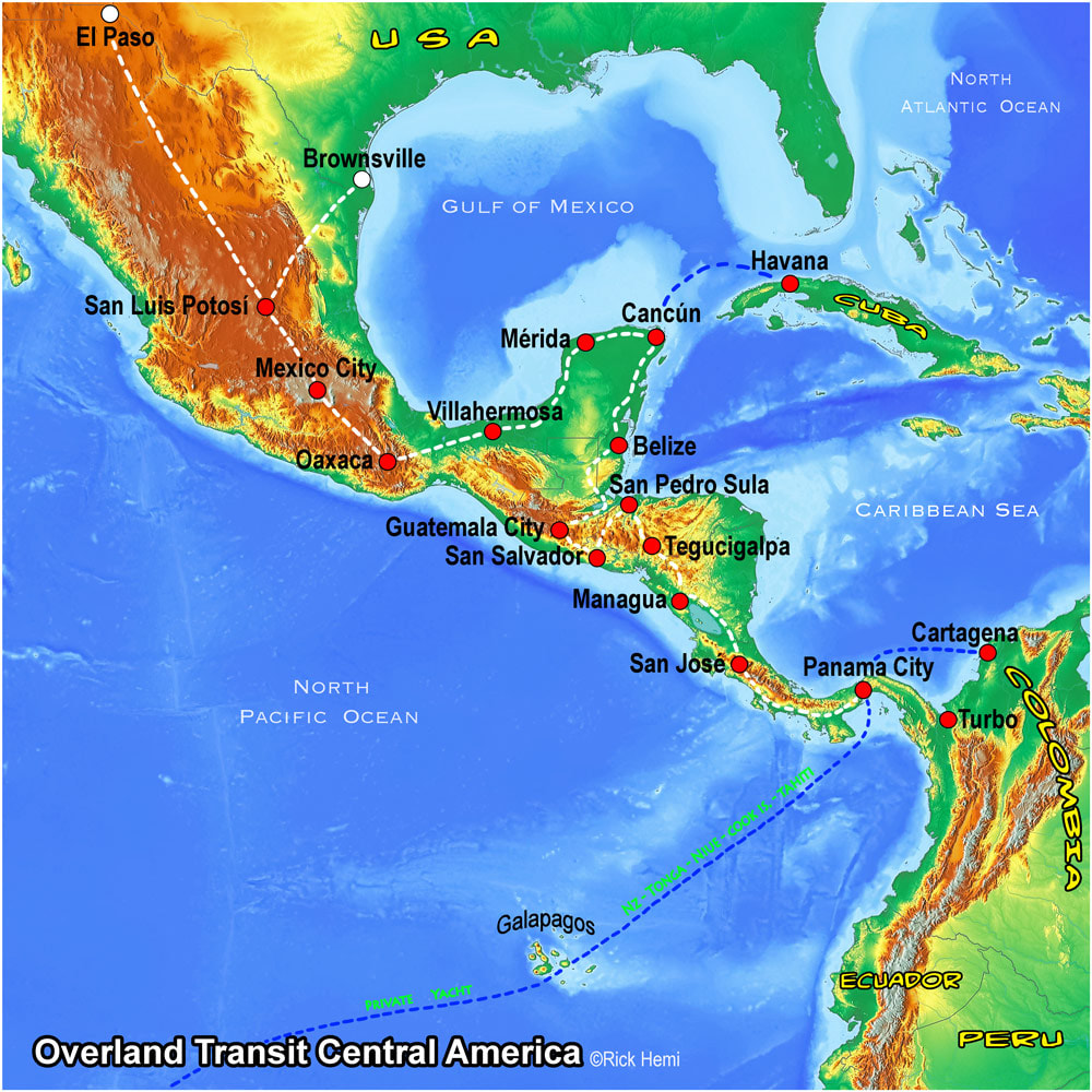 CENTRAL AMERICA solo overland travel route map, map design by Rick Hemi