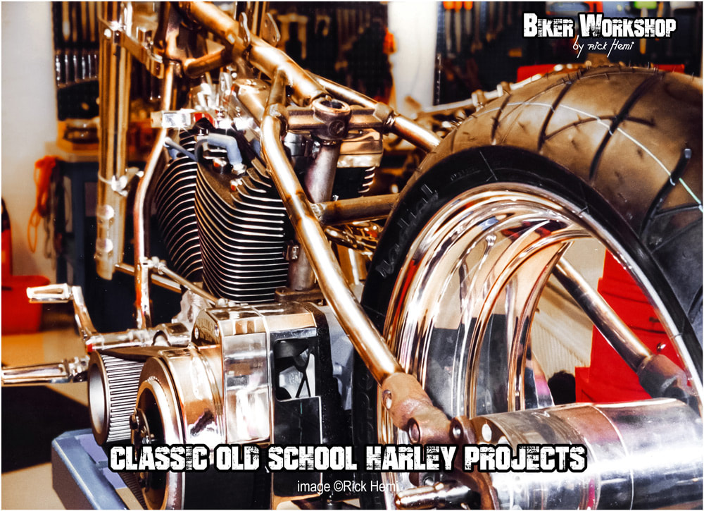Old school hardtail Harley Davidson projects, Europe, USA, Japan, India