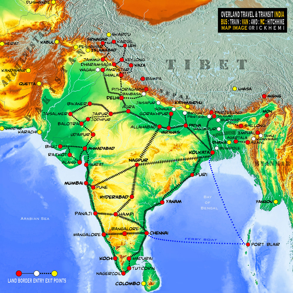 INDIA solo overland travel transit route map, map design by Rick Hemi