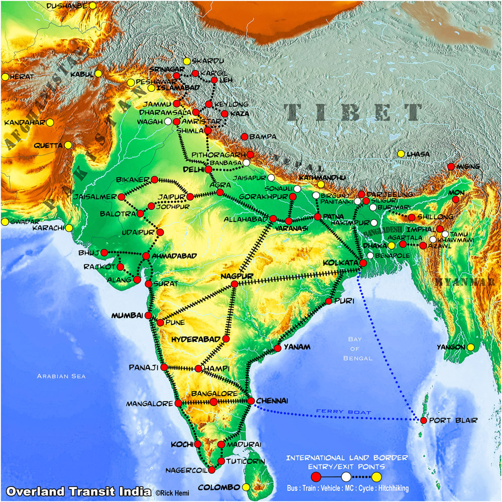 India overland transit map border crossings-Nepal-Bangladesh-Myanmar-Pakistan