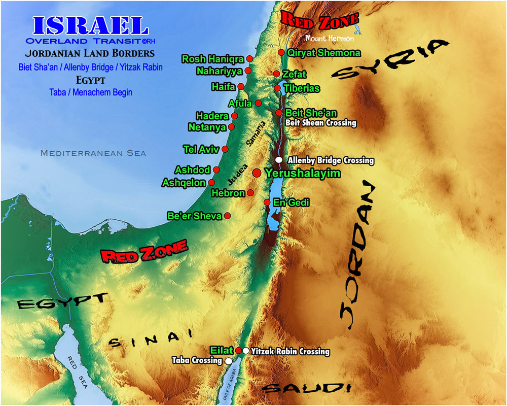 Israel solo overland map, map design by Rick Hemi