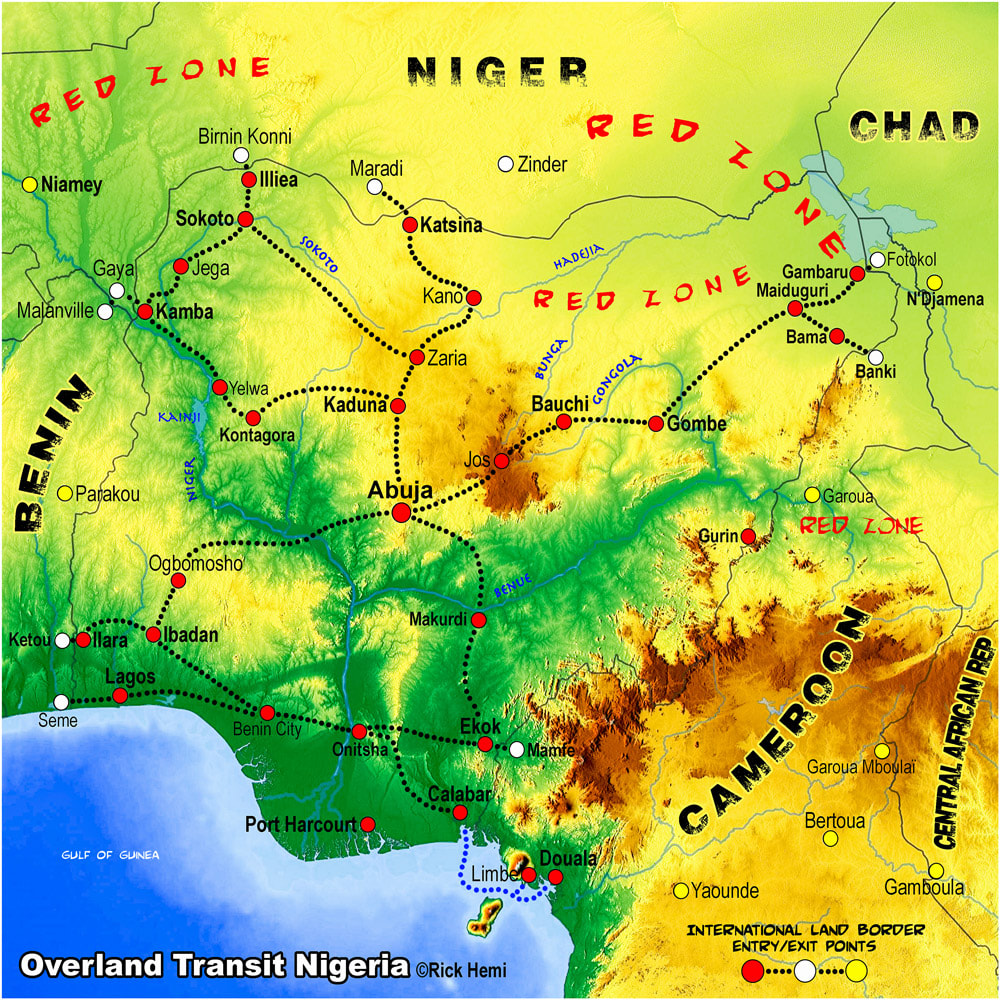 NIGERIA solo overland travel and transit route map, Nigeria overland border entry-exit posts, map design by Rick Hemi
