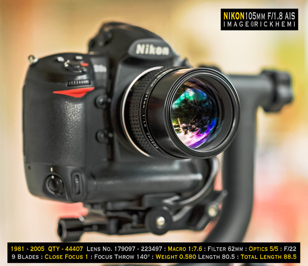 overland travel photo-gear, Nikon Nikkor 105mm f/1,8 AIS lens quick specs, image by Rick Hemi
