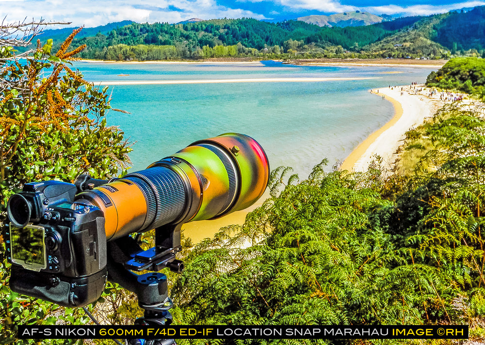 overland travel camera-gear, Nikon AF-S 600mm f/4D ED-IF, location snap Marahau New Zealand, image by  rick hemi