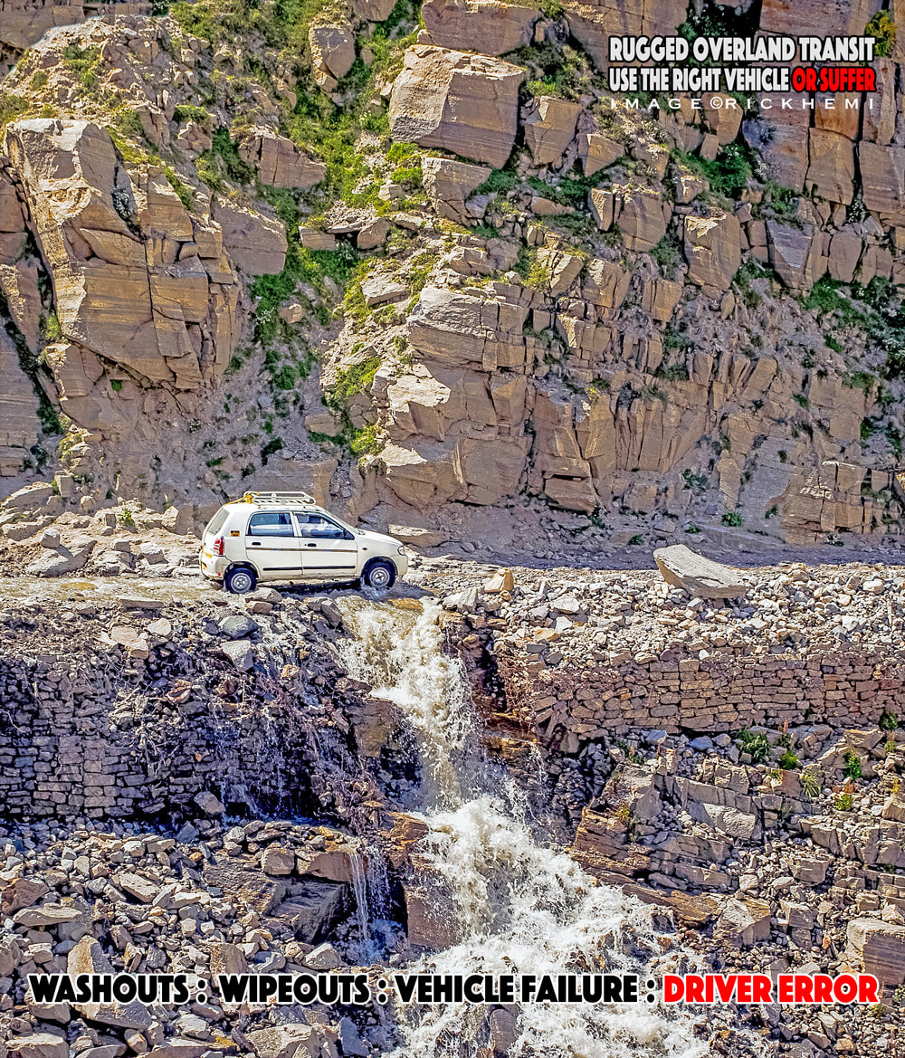 overland travel, self driving, rugged dangerous dirt track road routes, washouts, wipeouts, driver error, image by rick hemi