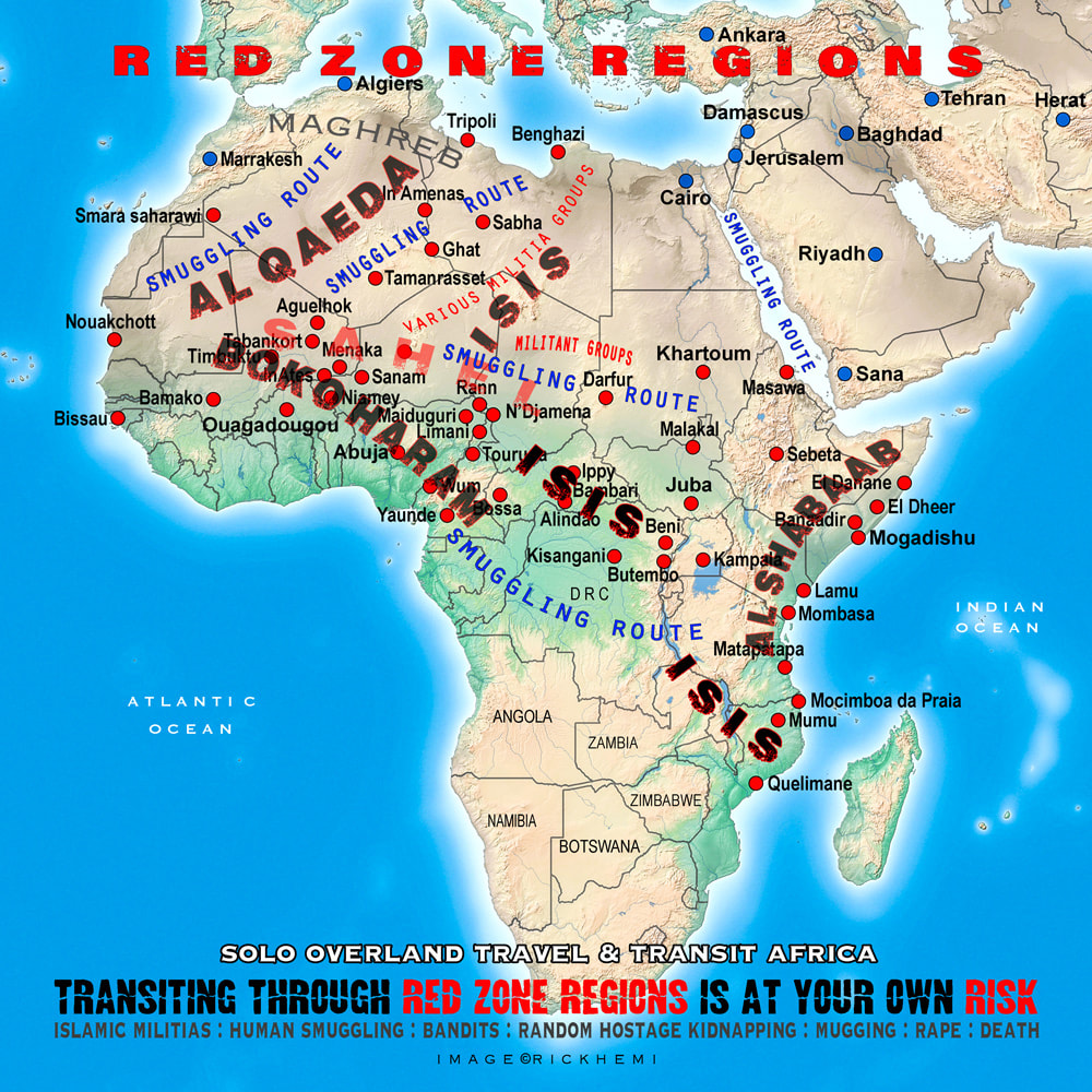 solo overland travel Africa, red zone regions