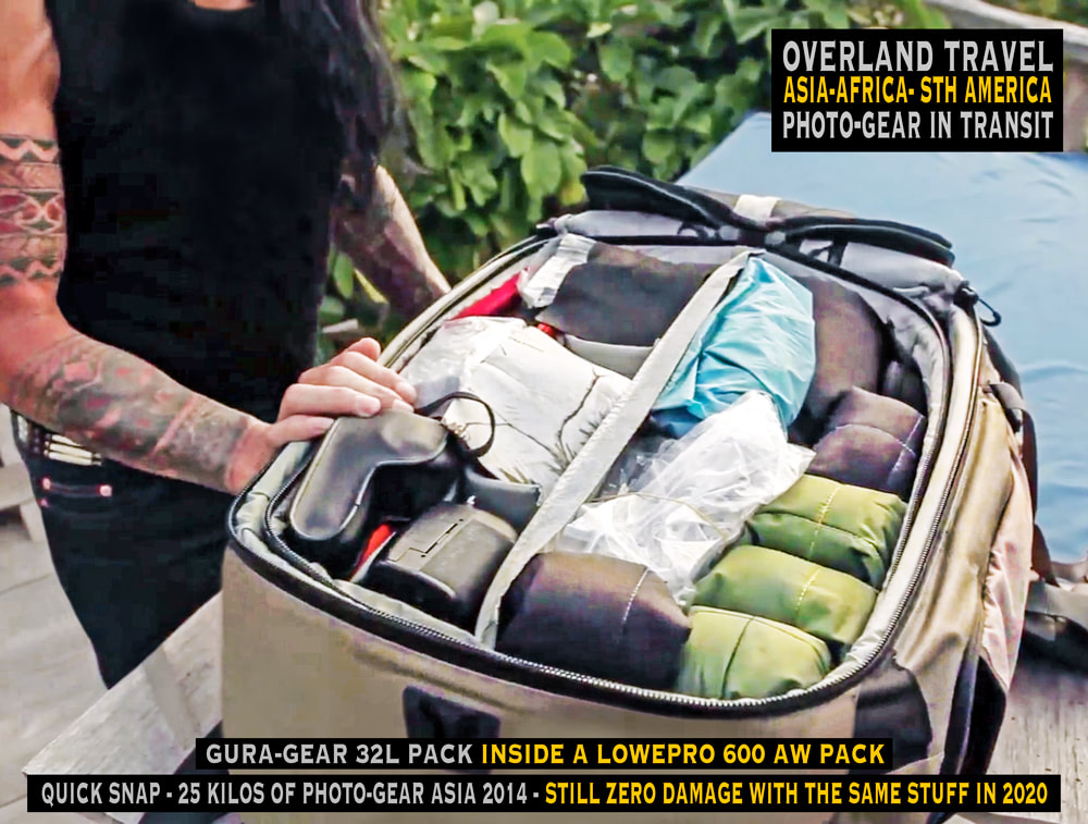 overland travel and transit with photo-gear, Rick Hemi on the go with a a pile of camera-gear