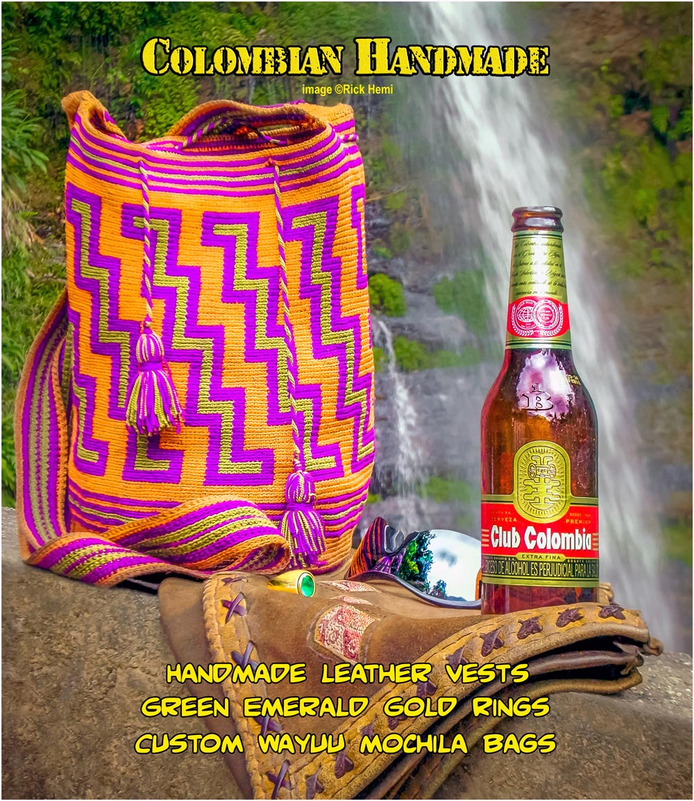 solo overland travel Colombia, handcrafted Colombian products, suede leather,  handmade Wayuu mochila bags, Colombian green emeralds and gold designer rings