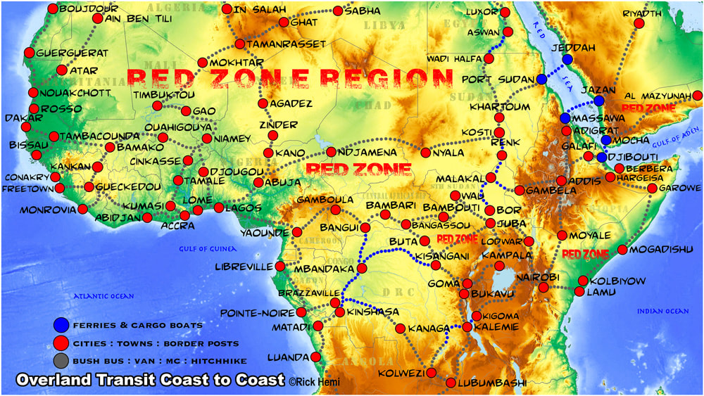 solo overland travel & transit coast to coast Africa, overland travel route red zone regions Africa, map design by Rick Hemi