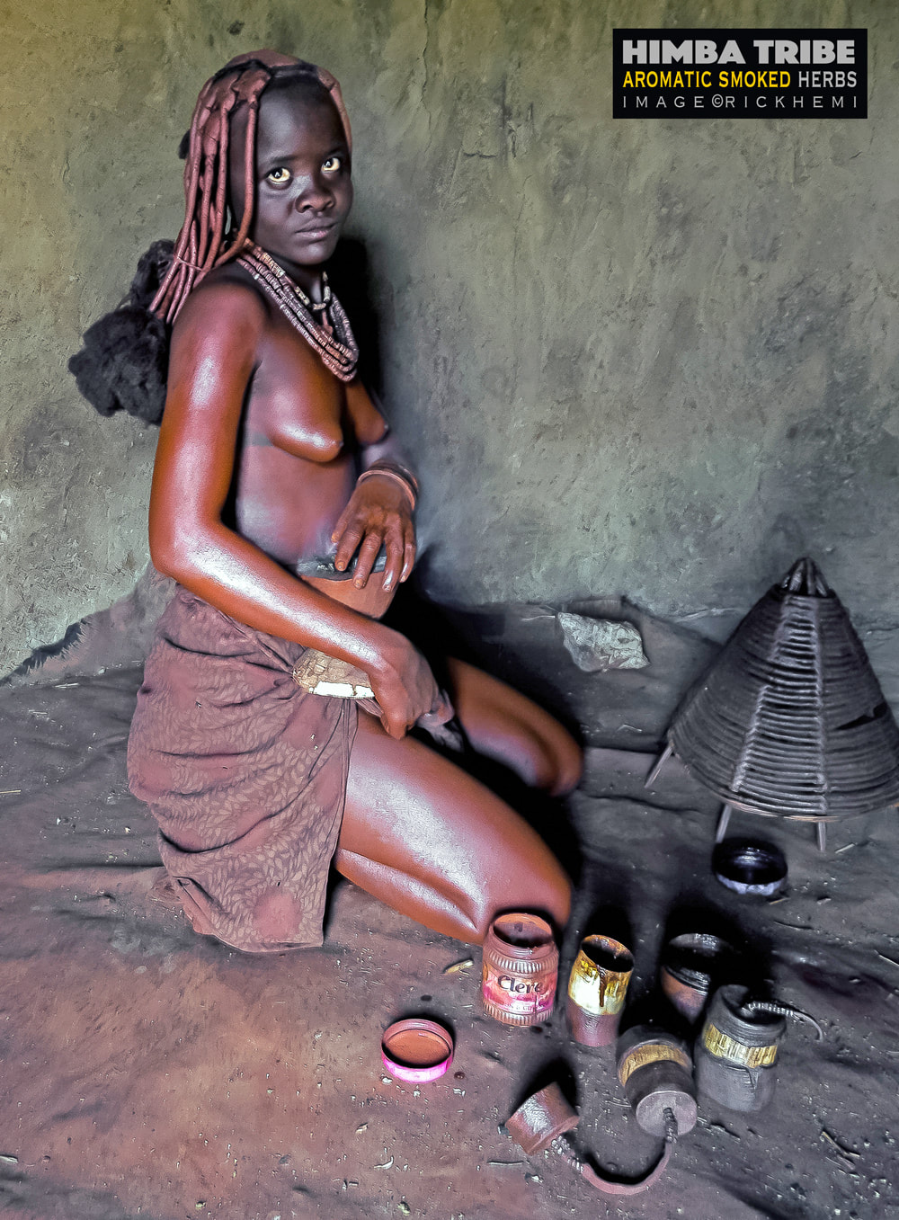 tribal Himba, aromatic smoked herb body cleansing agent, image by Rick Hemi