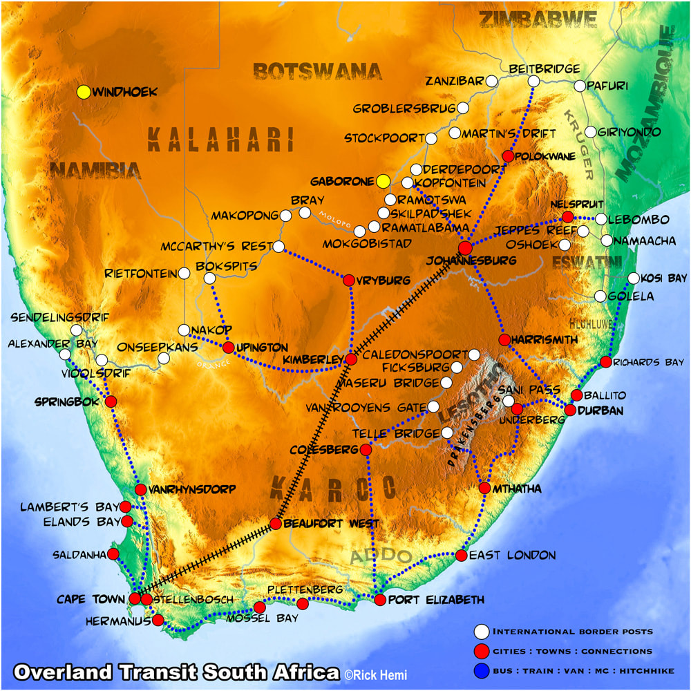 SOUTH AFRICA overland travel and transit route map, South Africa international land border crossings, map design by Rick Hemi