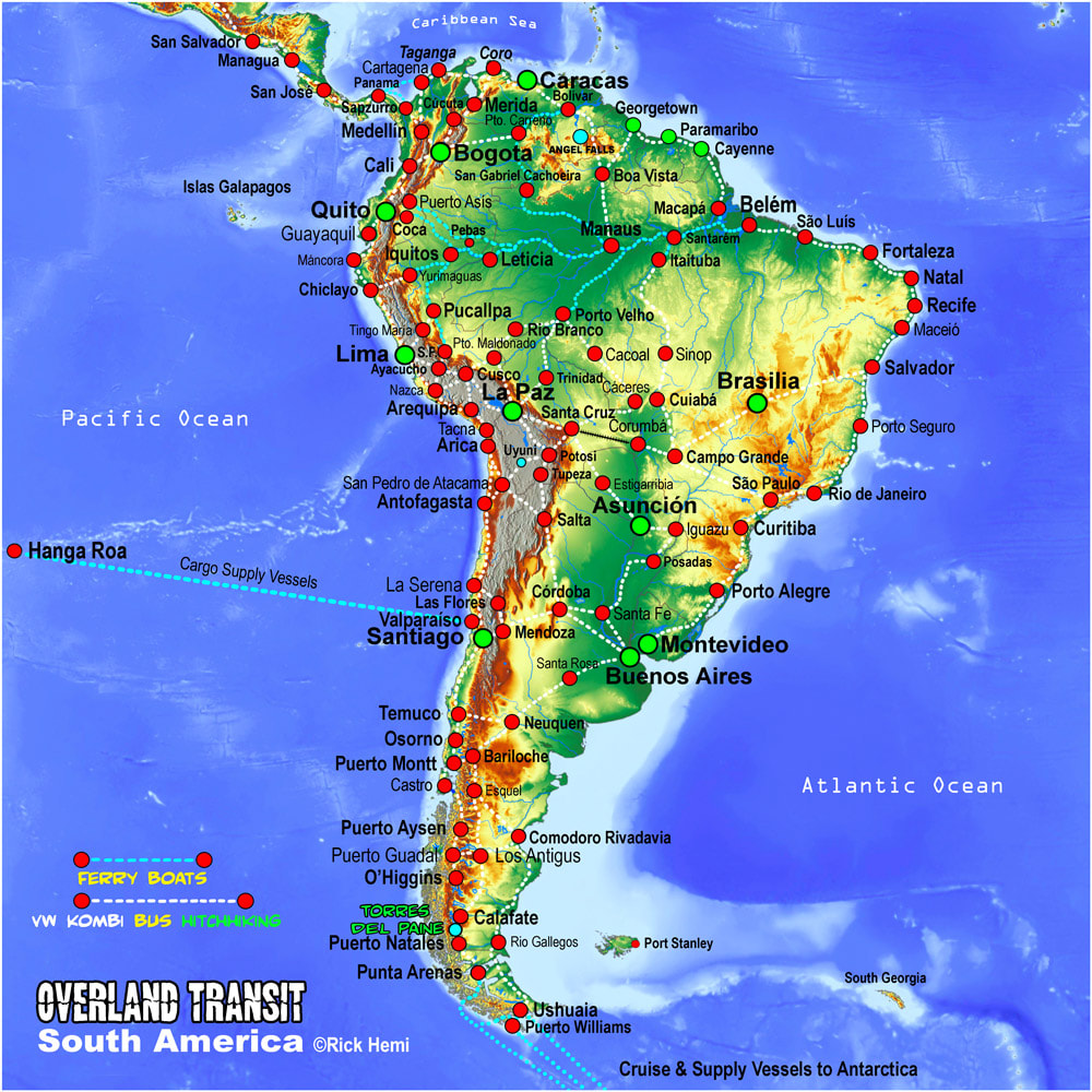 Overland solo travel and transit routes South America map, Map South America, South America transit map, Overland map routes thru South America, Solo overland travel map South America, Getting slowly through South America, South American transit map