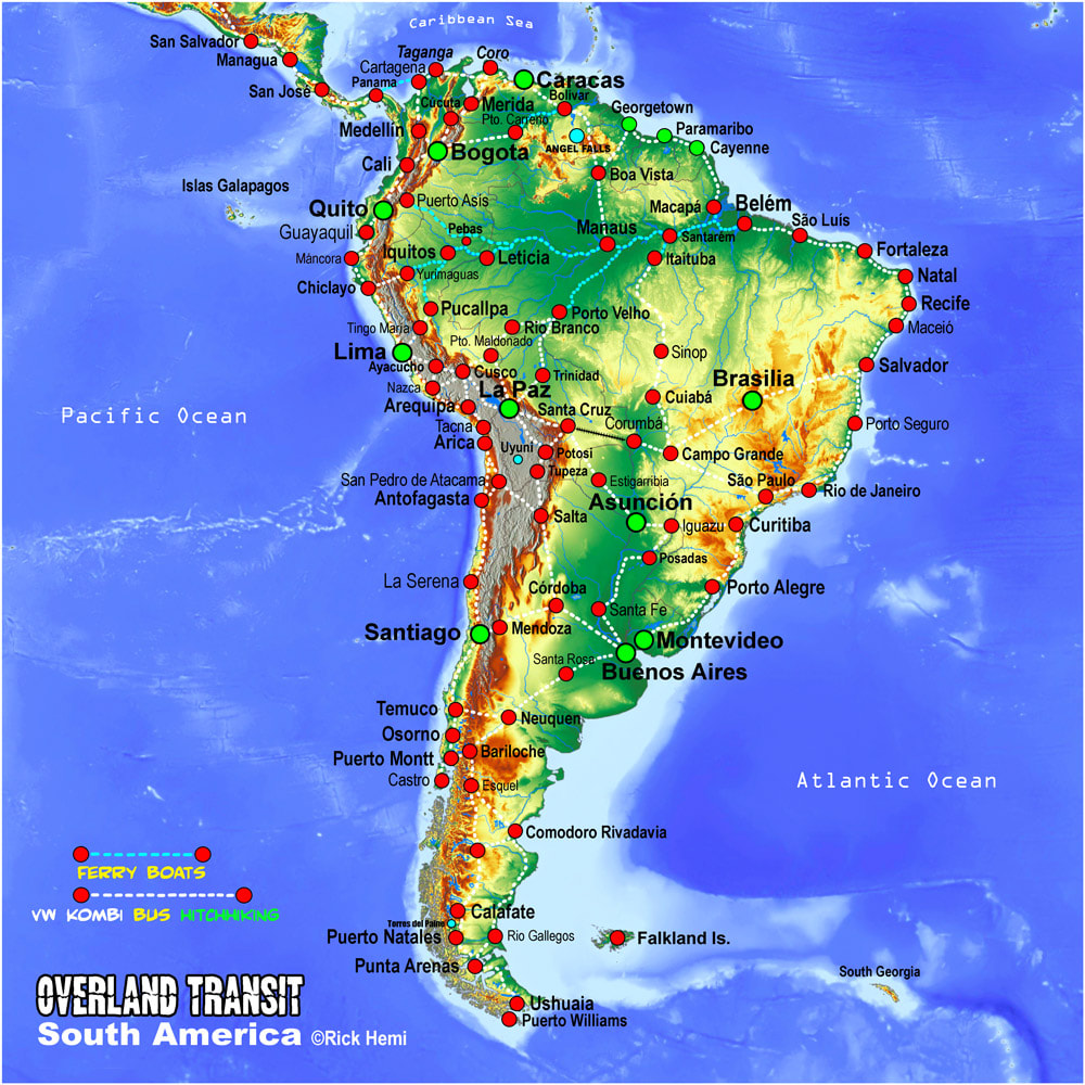 solo travel overland transit route map South America