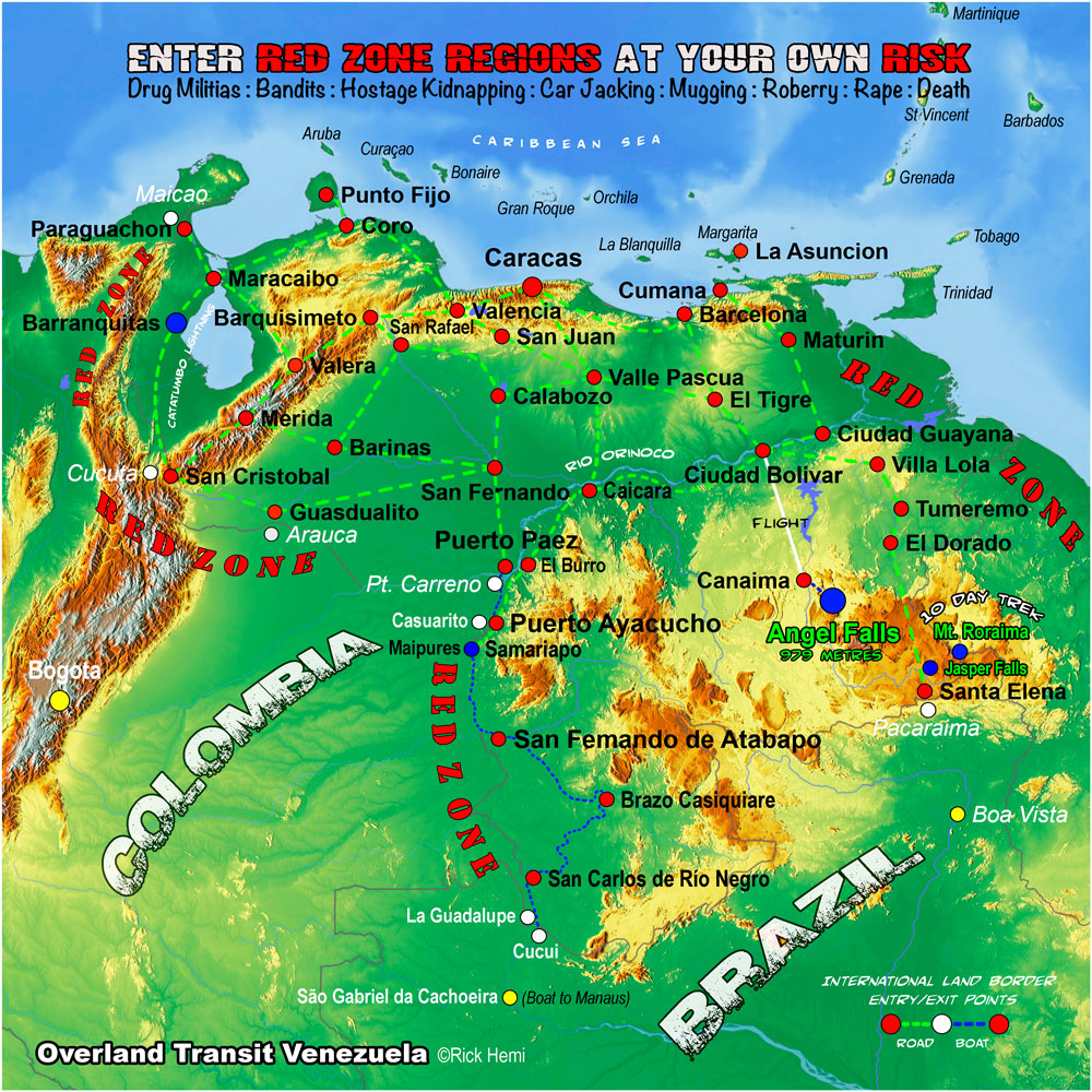 VENEZUELA solo overland travel transit route map, map design by Rick Hemi